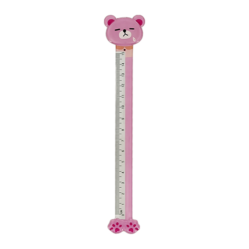 Линейка `FUN` BEAR pink пластиковая