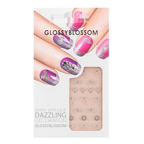 Наклейки для ногтей `GLOSSYBLOSSOM` DAZZLING DECORATION  бантики,сердечкиДизайн ногтей<br>Декоративные украшения для ногтей GlossyBlossom помогут сделать Ваш маникюр необычным, ярким и современным!<br>