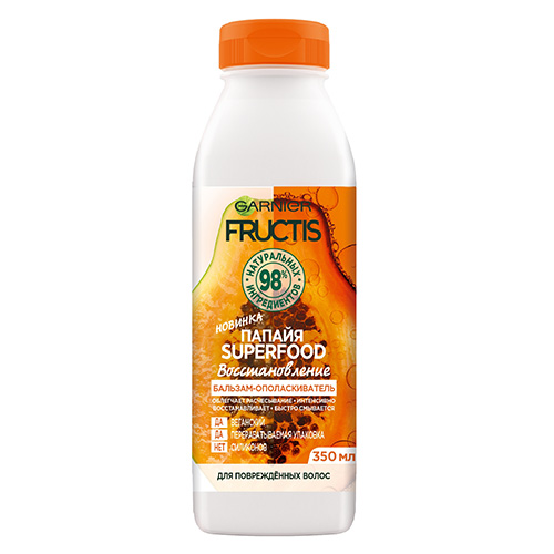 Бальзам-ополаскиватель для волос GARNIER FRUCTIS SUPERFOOD Папайя восстановление 350 мл