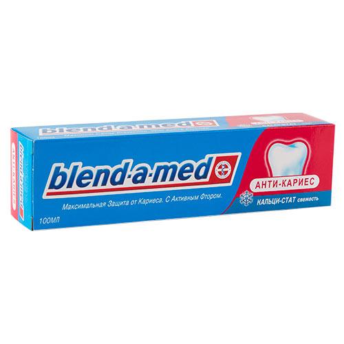 Паста зубная `BLEND-A-MED` Анти-кариес 100 млЗубные пасты<br>Максимальная Защита от Кариеса. С Активным Фтором.<br><br>Анти-Кариес Кальци-Стат Свежесть помогает максимально защищать зубы от кариеса, укрепляя зубную эмаль.<br>Её уникальная формула с системой «Кальци-Стат» способствует поступлению естественного кальция и минеральных элементов в состав зубной эмали.<br>Чистка зубов с Blend-a-med Анти-Кариес Кальци-Стат Свежесть поможет Вам:<br>- Остановить развитие кариеса на ранней стадии его образованияx.<br>- Предотвратить образование кариеса.<br>- Обеспечить эффективное очищение зубов и свежее дыхание.<br>