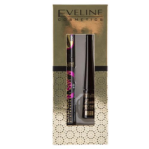 Набор подарочный женский `EVELINE` (тушь для ресниц Объем и удлинение, подводка для глаз черная матовая)Подарки<br>Набор подарочный женский Eveline (тушь для ресниц Объем и удлинение, подводка для глаз черная матовая)<br>