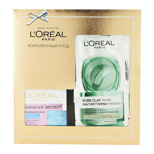 Купить Набор подарочный женский LOREAL крем для лица 50 мл, маска для лица Магия глины 2 х 6 мл, ГЕРМАНИЯ/ GERMANY