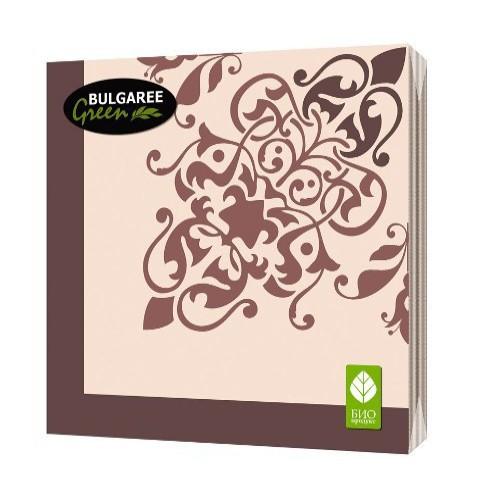 Салфетки бумажные `BULGAREE GREEN` трехслойные Классика 20 штСалфетки<br>Салфетки бумажные для сервировки стола<br>
