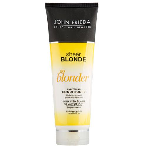 Кондиционер `JOHN FRIEDA` `SHEER BLONDE` осветляющий 250 млБальзамы и ополаскиватели<br>Постепенно осветляют светлые волосы, создают эффект по-летнему выгоревших волос круглый год. Не содержат Аммиак и Перекись Водорода. Подходят для всех оттенков натуральных, окрашенных и мелированных светлых волос.<br>