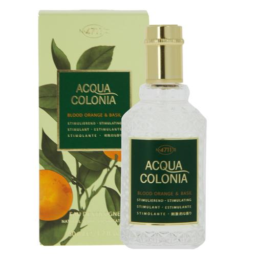 Одеколон `4711 ACQUA COLONIA` STIMULATING - BLOOD ORANGE &amp; BASIL (жен.) 50 млЖенская<br>4711 Acqua Colonia Blood Orange &amp; Basil от Maurer &amp; Wirtz - парфюм для мужчин и женщин (унисекс). Относится он к группе цитрусовых фужерных ароматов. Эта новая парфюмерная вода была создана в 2012 году. Стимулирующий аромат 4711 Acqua Colonia Blood Orange &amp; Basil безусловно отвлечет от тусклой повседневности и позовет в чудесный, яркий мир, полный безграничной энергии. Бодрящий, поднимающий настроение одеколон, вобравший в себя свежие нотки оранжевого апельсина и смелые оттенки базилика, преподносит долгожданное праздничное ощущение, отвлекая от будничной суеты. Это дневной аромат и носить его лучше летом. Флакон аромата с ярко-оранжевой этикеткой выполнен в классическом стиле.  Композиция аромата 4711 Acqua Colonia Blood Orange &amp; Basil от Maurer &amp; Wirtz включает ноты: тосканский базилик и красный апельсин.<br>