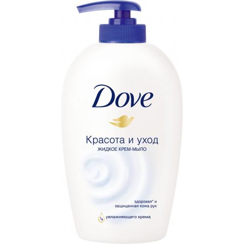 Крем-мыло жидкое `DOVE` КРАСОТА И УХОД 250 млОчищение<br>Появление бренда Dove связано с созданием уникального очищающего средства для кожи, не содержащего щелочи. Формула единственного в своем роде крем-мыла на четверть состоит из увлажняющего крема - именно это его качество помогает защищать кожу от раздражения и сухости, которые неизбежны при использовании обычного мыла.Dove —марка, которая известна благодаря авангардному изобретению: мягкому крем-мылу. Dove любим миллионами, ведь они не содержат щелочи, оказывают мягкое, щадящее воздействие на кожу лица и тела.Удивительное по своим свойствам крем-мыло довольно быстро стало одним из самых популярных косметических средств. Успех этого продукта был настолько велик, что производители долгое время не занимались расширением ассортимента. Прошло почти сорок лет с момента регистрации товарного знака Dove, прежде чем свет увидел крем-гель для душа и другие косметические средства этой марки. Все они создаются на основе формулы, разработанной еще в прошлом веке, но не потерявшей своей актуальности.На сегодняшний день этот бренд по праву считается олицетворением красоты, здоровья и женственности. Помимо женской линии косметики выпускаются детские косметические средства и косметика для мужчин. Несмотря на широкий ассортимент предлагаемых средств по уходу за кожей и волосами, завоевавших признание в более чем 80 странах по всему миру, производители находятся в постоянном поиске новых формул.Dove считается одним из ведущих в своей области. Он известен миллионам людей в почти сотне стран по всему миру. В мире Dove красота — это источник уверенности в себе, а не беспокойства. Миссия бренда — дать новому поколению возможность расти в атмосфере позитивного отношения к собственной внешности. Жидкое крем-мыло \Красота и уход\- это мягкое средство для очищения кожи, обладающее мягким, нераздражающим действием и неповреждающее защитный слой кожи Эффективно увлажняет кожу и не повреждает защитный слой кожи. Крем-мыло Dove Красота и Ухо