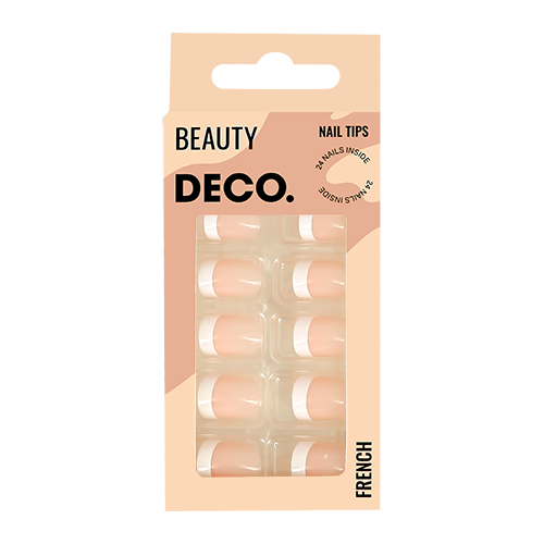 Набор накладных ногтей DECO. FRENCH white 24 шт + клеевые стикеры 24 шт