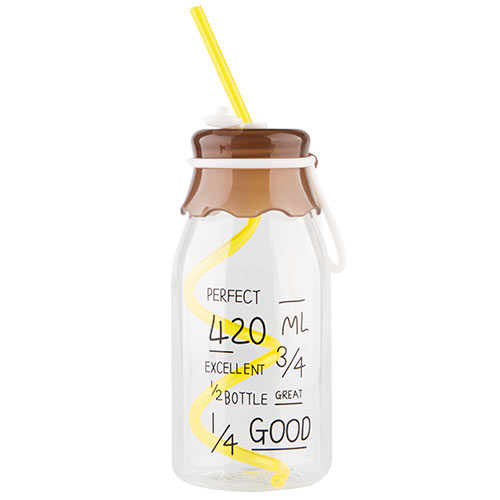 Бутылка для воды FUN с трубочкой brown 550 мл