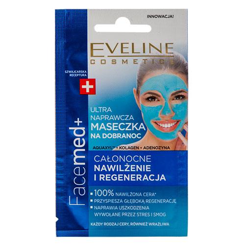 Маска для лица `EVELINE` FACEMED+ восстанавливающая 7 млМаски<br>Ультравосстанавливающая маска на ночь  это современная <br>терапия, интенсивно ускоряющая регенерацию клеток кожи<br>во время сна. Предназначена для всех типов кожи. Легкая - максимально концентрированная гелевая формула, обогащенная AQUAXYL™ и гиалуроновой кислотой  восстанавливает 100% уровень увлажнения глубоких слоев кожи.<br>