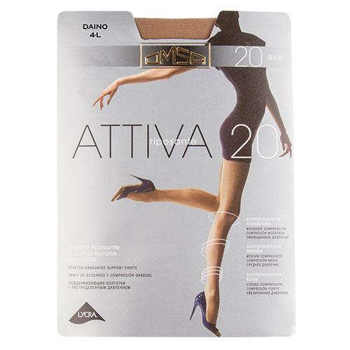 Колготки женские `OMSA` ATTIVA 20 den (Daino) р-р 4Колготки<br>Тонкие эластичные поддерживающие колготки 20 DEN с распределенным давлением по ноге, корректирующими штанишками с  комфортными швами и гигиеничной ластовицей.<br>