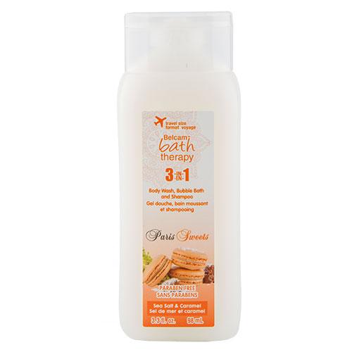 Гель для душа, пена для ванны, шампунь для волос `BATH THERAPY` PARIS SWEETS 3 в 1 Морская соль и карамель 98 млГели и кремы для душа<br>Хотите снять усталость после тяжелого трудового дня? Значит, пришло время и для нежного ароматного MACARONI 3 в 1 «Морская соль&amp;Карамель». Насладитесь ароматом сладкой пряной карамели в сочетании с бодрящим и необычным оттенком морской соли. Благодаря смягчающим ингредиентам, кожа остается гладкой и ухоженной. Средство 3 в 1 - это удобное и экономичное решение, которое позволяет использовать продукт как в качестве геля для душа, пены для ванны, так и шампуня, на Ваше личное усмотрение. Вы можете вспенить волосы шампунем, либо окунуться в нежную пену с головы до ног, или налить в ванну благоухающие пузырьки для поднятия настроения.<br>