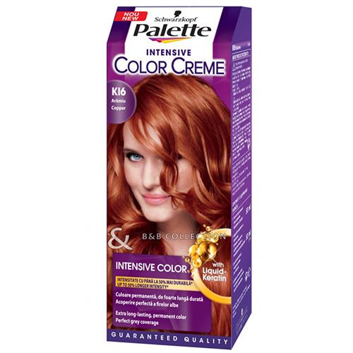 Крем-краска для волос `PALETTE` тон К16 (Медно-каштановый) 50 млОкрашивание<br>Откройте для себя стойкую крем-краску Palette Intensive Color УЛЬТРА КЕРАТИНОМ для стойкого интенсивного цвета и сияющего блеска.<br>Формула с УЛЬТРА КЕРАТИНОМ оказывает ухаживающее воздействие в процессе окрашивания, а интенсивные цветовые пигменты глубоко проникают в структуру волос для невероятного сияющего цвета. Процесс окрашивания оставит ощущение мягкости и гладкости волос, а новая формула надежно защитит Ваш любимый оттенок от выцветания<br>