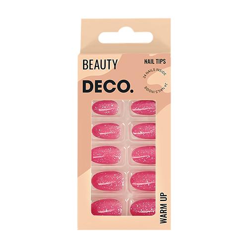 Набор накладных ногтей DECO. WARM UP sparkle 24 шт + клеевые стикеры 24 шт