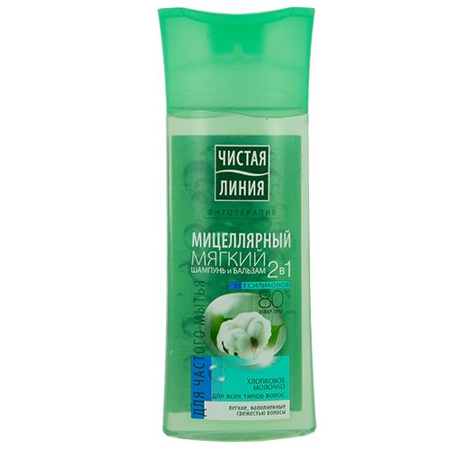 Купить Шампунь-бальзам для волос ЧИСТАЯ ЛИНИЯ ФИТОТЕРАПИЯ мицеллярный для всех типов волос 250 мл, РОССИЯ/ RUSSIA