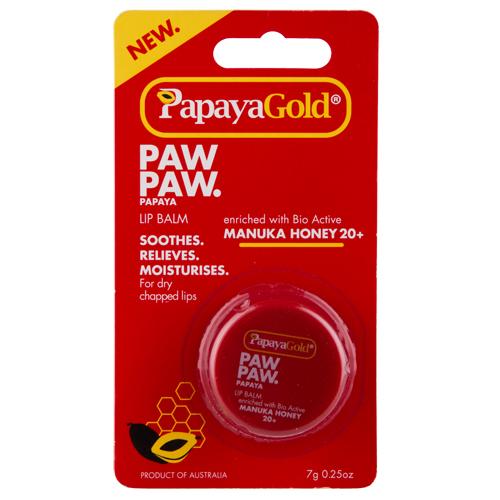 Бальзам для губ `PAPAYAGOLD` в баночке 7 гГубы<br>Бальзам для губ PapayaGold, обогащенный биологически активным медом Манука 20+, смягчает, восстанавливает и увлажняет сухие и потрескавшиеся губы.<br>