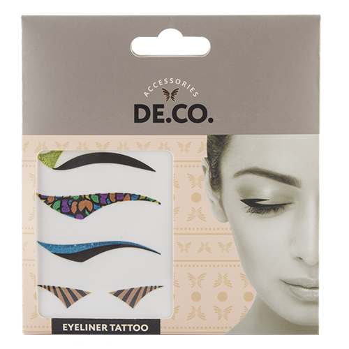 Стрелки для глаз `DE.CO.` самоклеящиеся (bright)Украшения для тела и волос<br>Использование стрелок для глаз – популярное и не выходящее из моды решение, как для дневного, так и для вечернего макияжа. Самоклеящиеся стрелки для глаз Eyeliner Tattoo значительно облегчают процесс создания макияжа, наносятся менее чем за минуту, не вызывают дискомфорта и держатся до 8 часов.   <br>В состав набора входят стрелки 4-х разных дизайнов для любого случая.Секрет от DE.CO: Стрелки для глаз Eyeliner Tattoo подходят для любого разреза глаз. При желании форму стрелок можно скорректировать ножницами.<br>