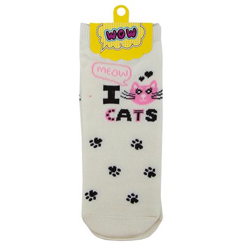 Носки женские `SOCKS` I cats white р-р единыйГольфы и носки<br>Носки женские I cats white р-р единый<br>