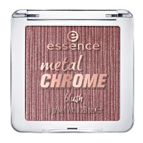 Румяна для лица `ESSENCE` METAL CHROME тон 20Румяна<br>Высокопигментированные румяна с шелковистой текстурой, насыщенные шиммерными частицами с металлическим отливом.<br>