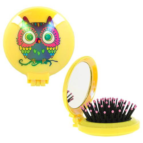 Купить Расческа для волос LADY PINK OWL с зеркалом желтая, КИТАЙ/ CHINA