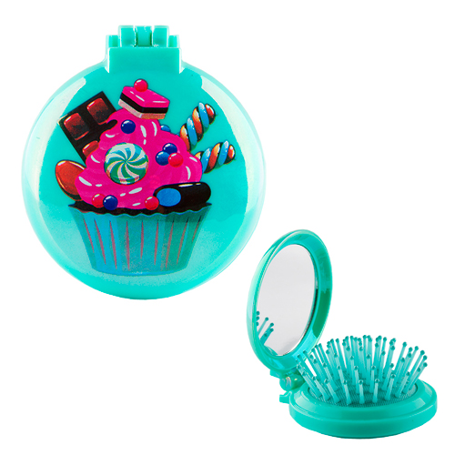 Расческа с зеркалом `MISS PINKY` BRIGHT Cake зеленаяЩетки массажные<br>Очаровательная расческа с зеркалом Miss Pinky подарит самое бережное расчесывание. А яркий цвет и интересный дизайн превратят процесс расчесывания  в настоящее удовольствие!<br>