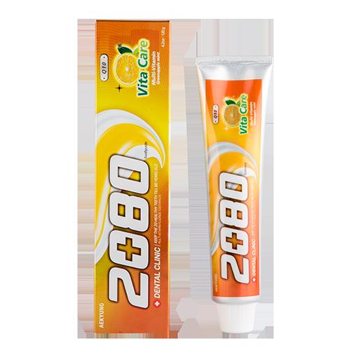 Паста зубная `2080` Витаминный уход 120 грЗубные пасты<br>Зубная паста для всей семьи. Обеспечивает надежную защиту от кариеса, бережное очищение и свежесть дыхания. Содержит мультивитамины и коэнзим Q10 для профилактики пародонтоза.<br>