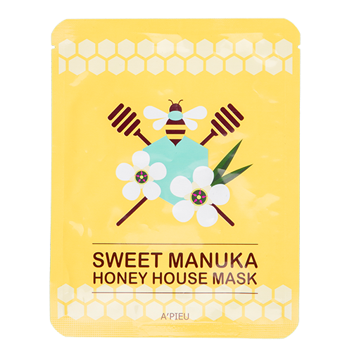 Маска для лица `A`PIEU` с экстрактом меда Манука 23 гМаски<br>Экстракт сладкого меда Манука помогает в уходе за сухой и безжизненной кожей, наполняя ее влагой и глубоко питая клетки. <br>Маска имеет текстуру, обеспечивающую плотное прилегание к коже, что способствует более интенсивному проникновению питательных веществ, а фольгированная сетка в виде пчелиных сот  на внешней стороне маски предотвращает чрезмерное испарение эссенции маски. <br>Основные действующие компоненты: экстракт меда Манука, масло арганы,  экстракт лепестков подсолнечника, экстракт жемчуга.<br>
