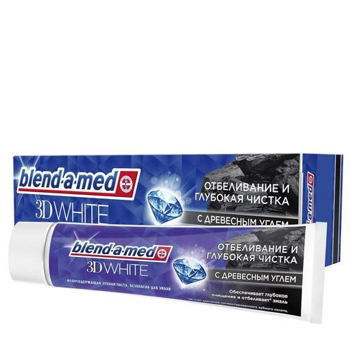 Паста зубная BLEND-A-MED 3D WHITE Отбеливание и глубокая чистка с Древесным углем 100 мл