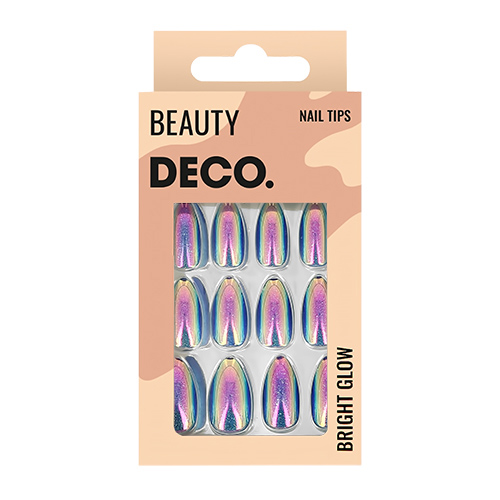 Набор накладных ногтей DECO. BRIGHT GLOW night sparkle 24 шт + клеевые стикеры 24 шт