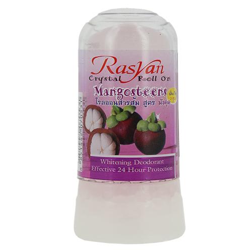 Део-кристалл жен. RASYAN с мангустином 80 гДезодоранты<br>cостоит из твердых солей квасцов вулканического происхождения, защищает от пота и неприятного запаха без закупорки потовых протоков, обладает антибактериальным и увлажняющим эффектами, поскольку борется с бактериями, являющимися причинами появления запаха, экономичен, обладает длительным периодом действия, не оставляет следов на одежде, не раздражает кожу.<br>
