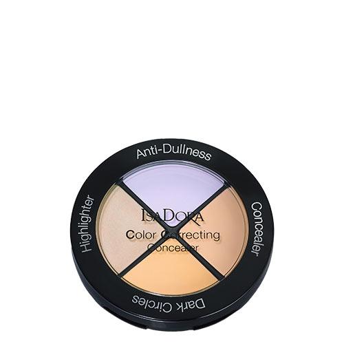 Средство для лица `ISADORA` COLOR CORRECTING CONCEALER тон 34 маскирующееКорректор<br>Многофункциональное средство для маскировки несовершенств кожи. Включает в себя 4 продукта. 1. Классический консилер. 2. Хайлайтер – придает коже сияние. 3 и 4 – Цветные консилеры для маскировки специфических несовершенств кожи. Персиковый оттенок маскирует темные круги под глазами, зеленый оттенок скрывает покраснения, сиреневый оттенок – против тусклого цвета лица<br>