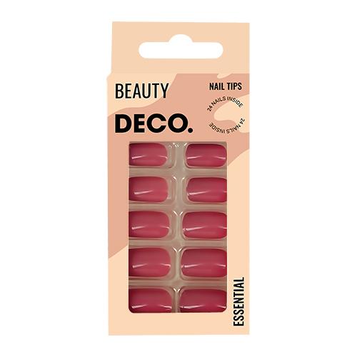 Набор накладных ногтей DECO. ESSENTIAL berry 24 шт + клеевые стикеры 24 шт