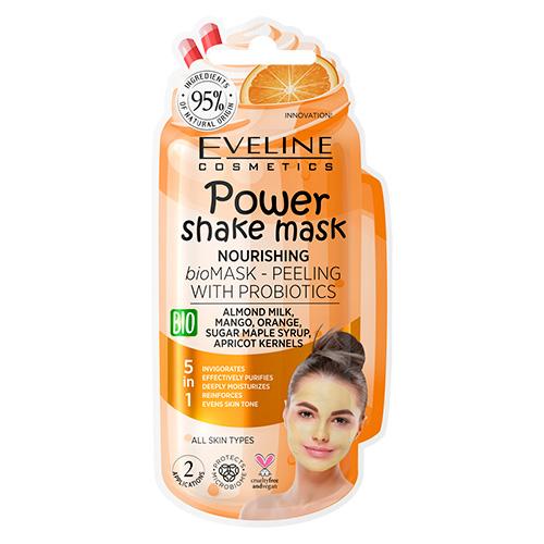 Маска-пилинг для лица EVELINE POWER SHAKE с пробиотиками и миндальным молочком ревитализирующая 8 мл