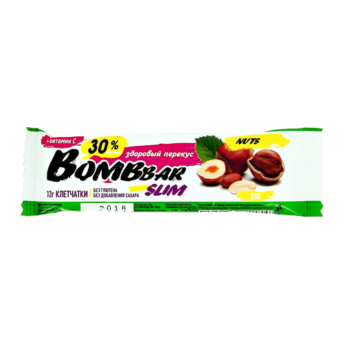 Батончик неглазированный BOMBBAR SLIM Фундук-арахис 35 г