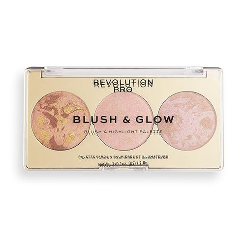 Палетка для макияжа лица REVOLUTION PRO BLUSH & GLOW 3 в 1 бронзер, румяна, хайлайтер тон peach glow