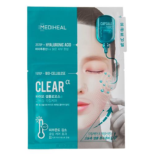 Маска для лица `MEDIHEAL` CLEAR 2-х ступенчатая с гиалуроновой кислотой 27 млМаски<br>ШАГ 1<br>Ультратонкая основа препятствует испарению влаги и питательных веществ из самой маски, в отличие от других тканевых масок. Маска хорошо держится на лице, не сползая, а тепло, образующееся под маской, помогает открыть поры, что способствует лучшему впитыванию. <br>Гиалуроновая кислота, входящая в состав маски, интенсивно увлажняет чувствительную кожу. Благодаря гиалуронату натрия, кожа выглядит ухоженной и отдохнувшей. Кислота устраняет морщины, придает коже эластичность и упругость, глубоко увлажняет ее, делает самую сухую, шелушащуюся кожу нежной, мягкой и максимально увлажнённой. Подходит для всех типов кожи. Входящее в состав масло чайного дерева прекрасно очищает поры, обладает ранозаживляющим и противовоспалительным эффектом. <br>ШАГ 2<br>Сыворотка для лица с гиалуроновой кислотой. Превосходные увлажняющие и укрепляющие свойства гиалуроновой кислоты обеспечат здоровый вид и сияние кожи. Нежная легкая текстура средства подходит для всех типов кожи.<br>