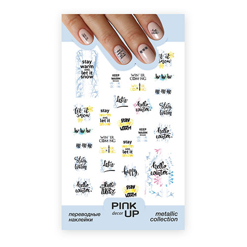Купить Наклейки для ногтей PINK UP DECOR METALLIC переводные тон 729, РОССИЯ/ RUSSIA