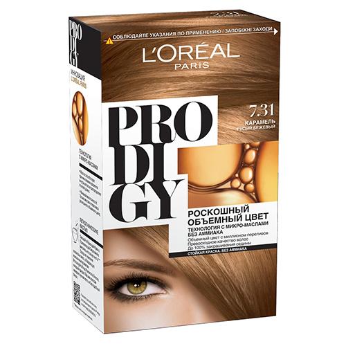 Крем-краска для волос `LOREAL` `PRODIGY` тон 7.31 (Карамель)Окрашивание<br>Краска для волос серии «Prodigy» совершила революционный прорыв в окрашивании волос. Новейшая технология состоит в использовании особых микромасел, которые, проникая в самый центр волоса, наполняют его насыщенным, совершенным свой чистотой цветом. Объемный цвет, полный переливов разнообразных оттенков достигается идеальной гармонией красящих пигментов. Кроме создания поразительного цвета микромасла также разглаживают поверхность волос, придавая тем самым ослепительный блеск. Равномерное окрашивание волос по всей длине, эффективное закрашивание седины и сохранение здоровой структуры волос — вот результат действия краски «Prodigy» без аммиака.<br>В состав упаковки входит: красящий крем (60 г); проявляющая эмульсия (60 г); уход-усилитель блеска (60 мл);  пара перчаток; инструкция по применению.<br>