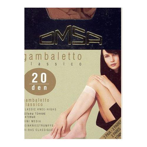 Гольфы женские `OMSA` `GAMBALETTO` CLASSICO 20 den (Caramello) 2 парыГольфы и носки<br>Тонкие полиамидные гольфы 20 DEN. 2 пары в упаковке.<br>
