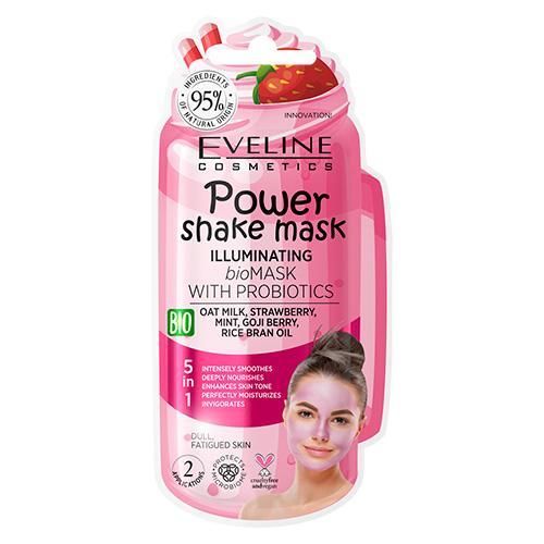 Маска для лица EVELINE POWER SHAKE с пробиотиками и овсяным молочком разглаживающая 8 мл