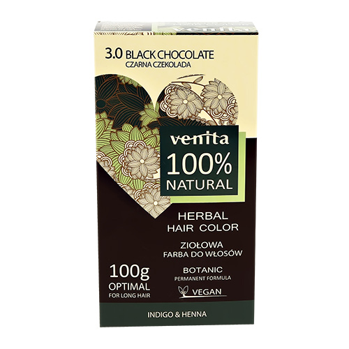 Краска для волос VENITA NATURAL 3.0 black chocolate травяная 100 г фото