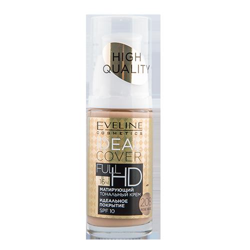 Крем тональный для лица `EVELINE` IDEAL COVER FULL HD тон 208 sand матирующий 30 млТональные средства<br>IDEAL COVER<br>203 NATURAL<br>FULL <br>SPF 10 HD16ч<br> <br>  тон 208 SAND  Матирующий тональный крем Ideal Cover Full HD™ гарантирует идеальное покрытие недостатков и невероятную стойкость макияжа. Содержание матирующих пигментов Hitech Stay-on Colour Pigments™ и минерального комплекса Ultra-Matt 16h обеспечивает коже идеальную матовую текстуру в течение целого дня. Разработан при участии визажистов.<br>