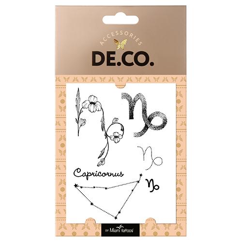 Татуировка для тела `DE.CO.` ZODIAC by Miami tattoos переводная (Козерог)Украшения для тела и волос<br>Miami Tattoos - известный бренд переводных татуировок, дизайны для которых разрабатывают лучшие татуировщики и художники. Коллекция Zodiac от Miami Tattoos - это ультрамодные переводные тату с символами всех двенадцати знаков зодиака. В каждом наборе - своя композиция на тему астрологии, млечного пути и созвездий. Наносите их на разные части тела, и они принесут вам удачу!<br>