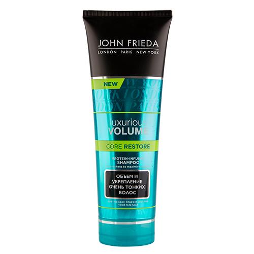 Шампунь для волос `JOHN FRIEDA` `LUXURIOUS VOLUME` CORE RESTORE с протеином 250 млШампуни <br>Этот шампунь с Комплексом Сила Протеина восполняет дефицит белка в волокнах волос, открывая новый уровень объема.<br>