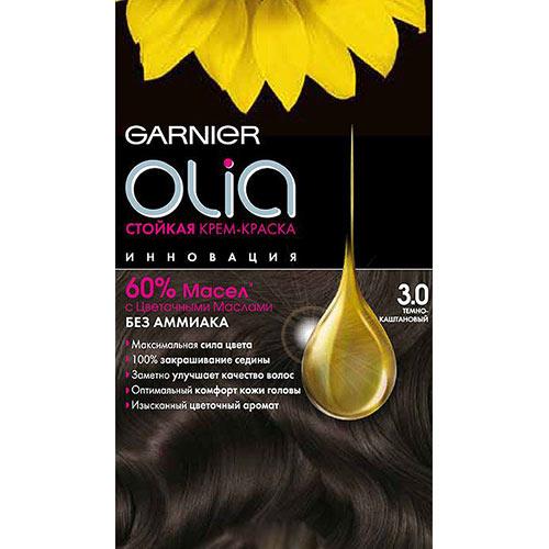 Краска для волос `GARNIER` `OLIA` Тон 3.0 (Темно-каштановый)Окрашивание<br>Garnier Olia - первая стойкая крем-краска без аммиака c цветочным маслом. Olia обеспечивает максимальную силу цвета и заметно улучшает качество волос. Обеспечивает уникальное чувственное нанесение, оптимальный комфорт кожи головы и обладает изысканным цветочным ароматом. <br>Узнай больше об окрашивании на http://coloracademy.ru//<br>В состав упаковки входит: тюбик с молочком-проявителем; тюбик с крем-краской; флакон с бальзамом-уходом для волос Шелк и Блеск;  инструкция; пара перчаток .<br>