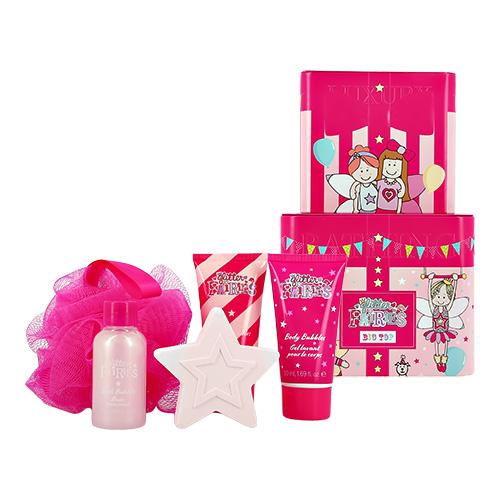 Набор подарочный детский GLITTER FAIRIES шипучее средство для ванны 50 г, пена для ванны 50 мл, гель для душа 50 мл, крем для тела 50 мл, мочалка
