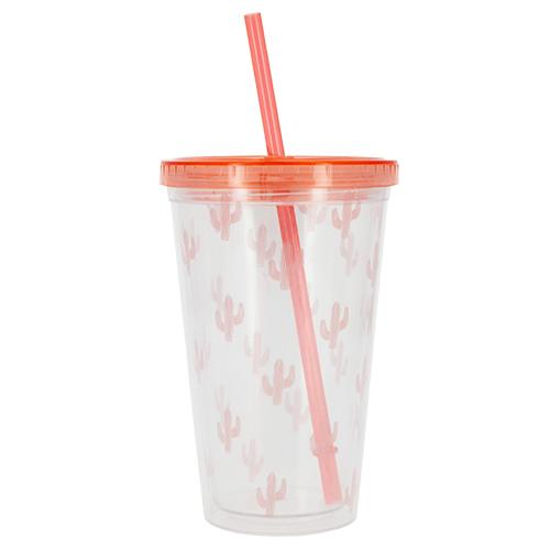Купить Стакан для воды FUN с трубочкой Pink cactus 450 мл, КИТАЙ/ CHINA