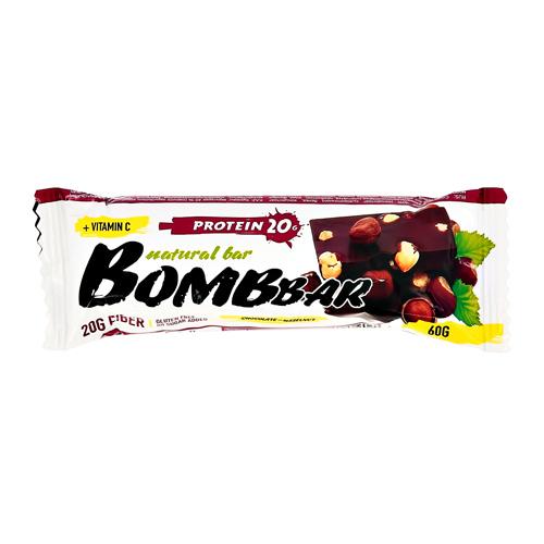 Батончик неглазированный BOMBBAR Шоколад-фундук 60 г
