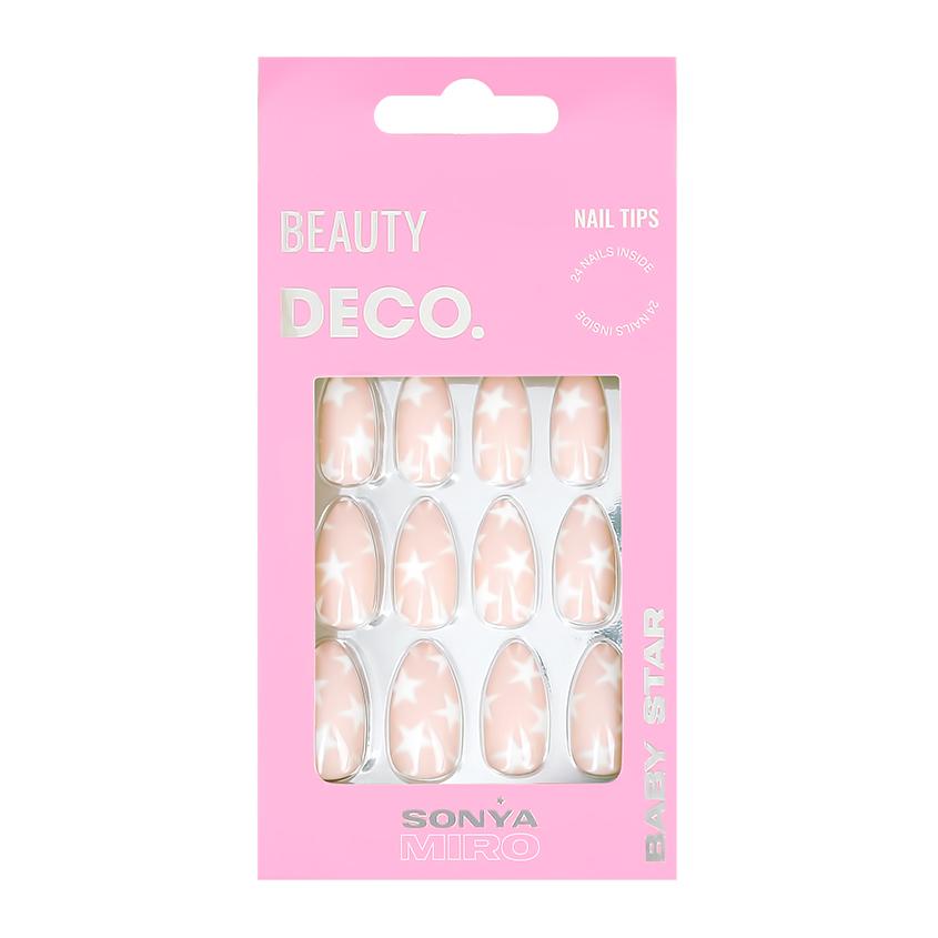 Набор накладных ногтей DECO. BABY STAR BY SONYA MIRO snow sparkle 24 шт + клеевые стикеры 24 шт