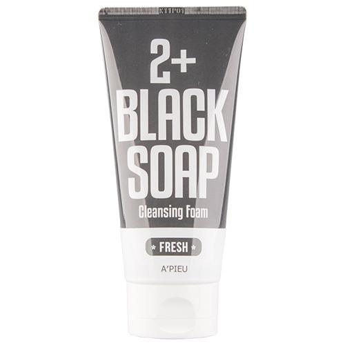 Пенка для умывания `A`PIEU` 2+ Black Soap 130 млУмывание<br>Кремообразная пенка для умывания способствует глубокому очищению кожи, склонной к жирности. Входящее в состав  черное мыло (10000 ppm) эффективно растворяет сальные пробки, очищает поры, способствует нормализации работы сальных желез..<br>Основные действующие ингредиенты: масло Ши, кокосовое масло, масло пальмовое, масло, порошок кожуры какао,  лавовая глина Марокко, экстракт кожуры каштана.<br>