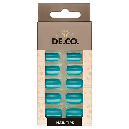 Набор накладных ногтей DE.CO. ESSENTIAL turquoise shine 24 шт + клеевые стикеры 24 шт